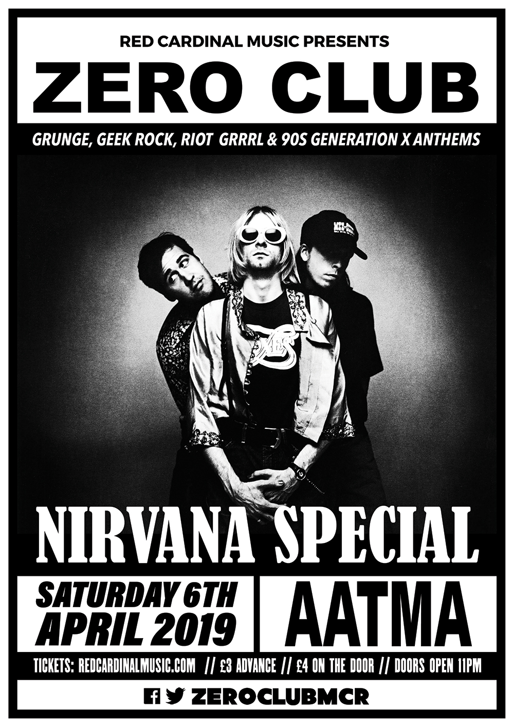 Zero Club Poster Nirvana Special - Apr 19 - Poster - Red Cardinal Music