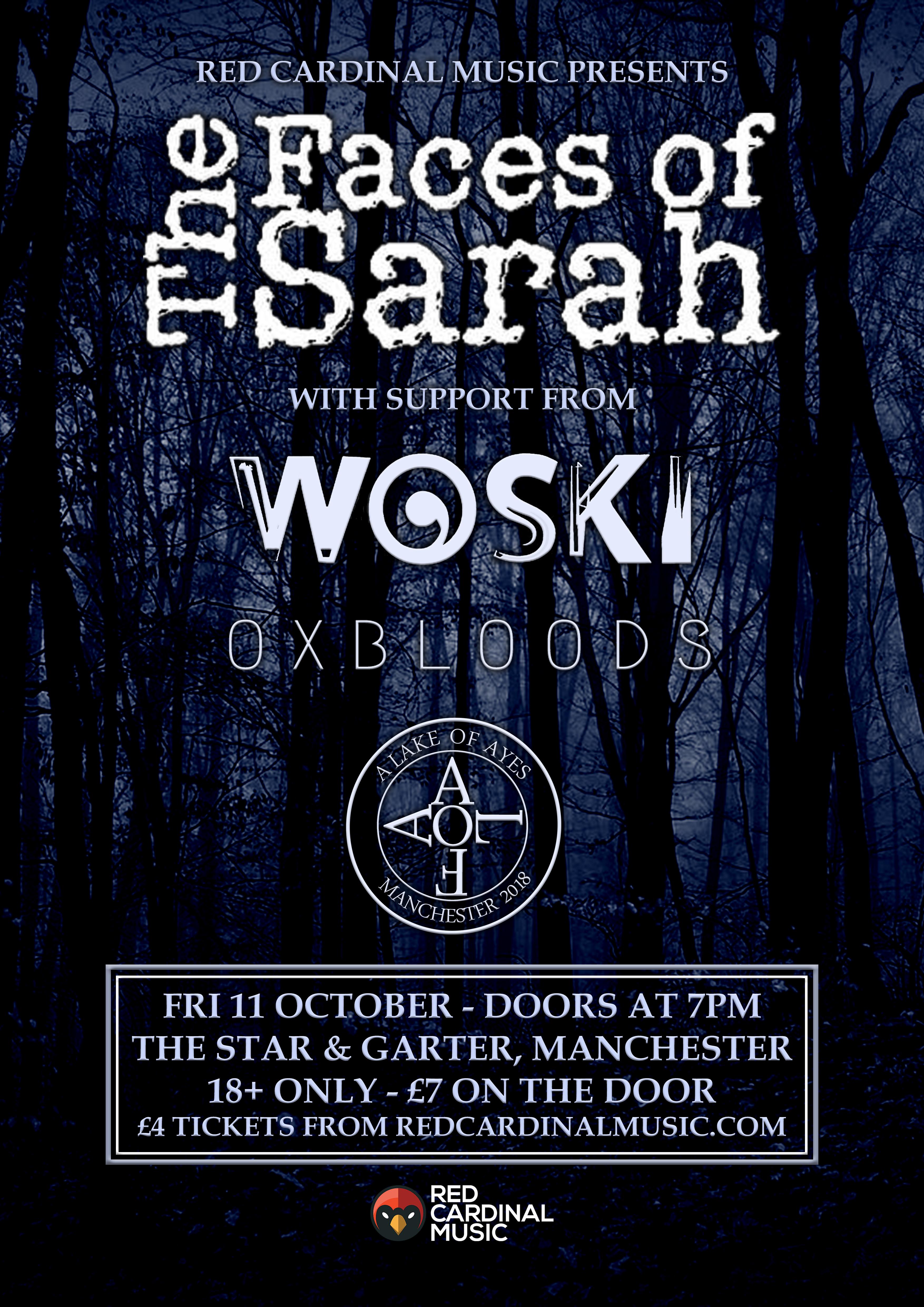 The Faces of Sarah at Star & Garter - Oct 19 - Red Cardinal Music - Manchester