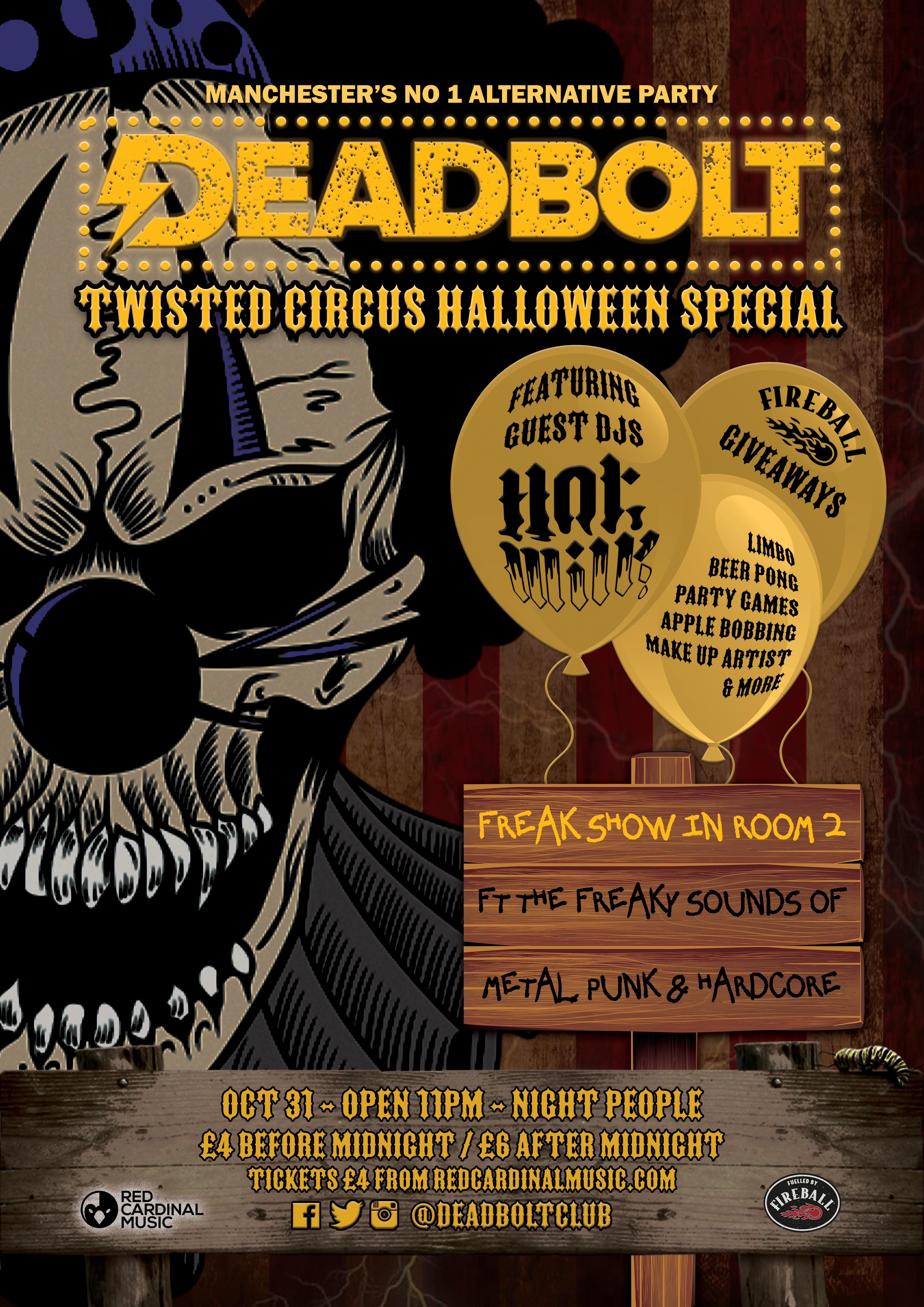 Deadbolt Manchester Alternative Halloween 2019 - Poster - Red Cardinal Music - Rock Emo Metal Night People