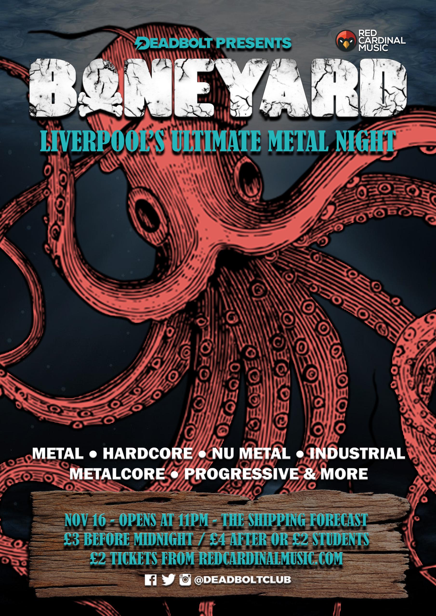 Boneyard Metal Night - Shipping Forecast Liverpool - Nov 19 - Poster - Red Cardinal Music