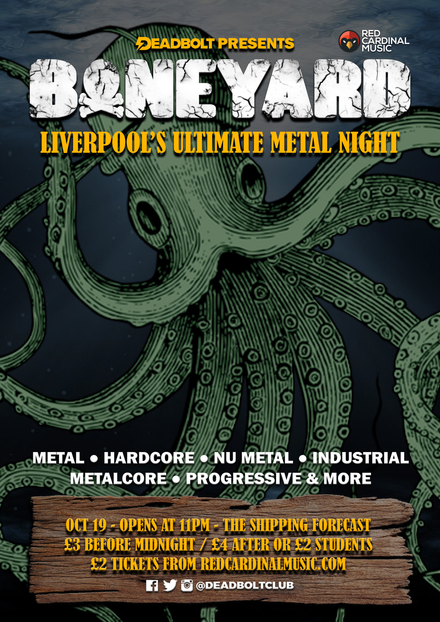 Boneyard Metal Night - Shipping Forecast Liverpool - Oct 19 - Poster - Red Cardinal Music