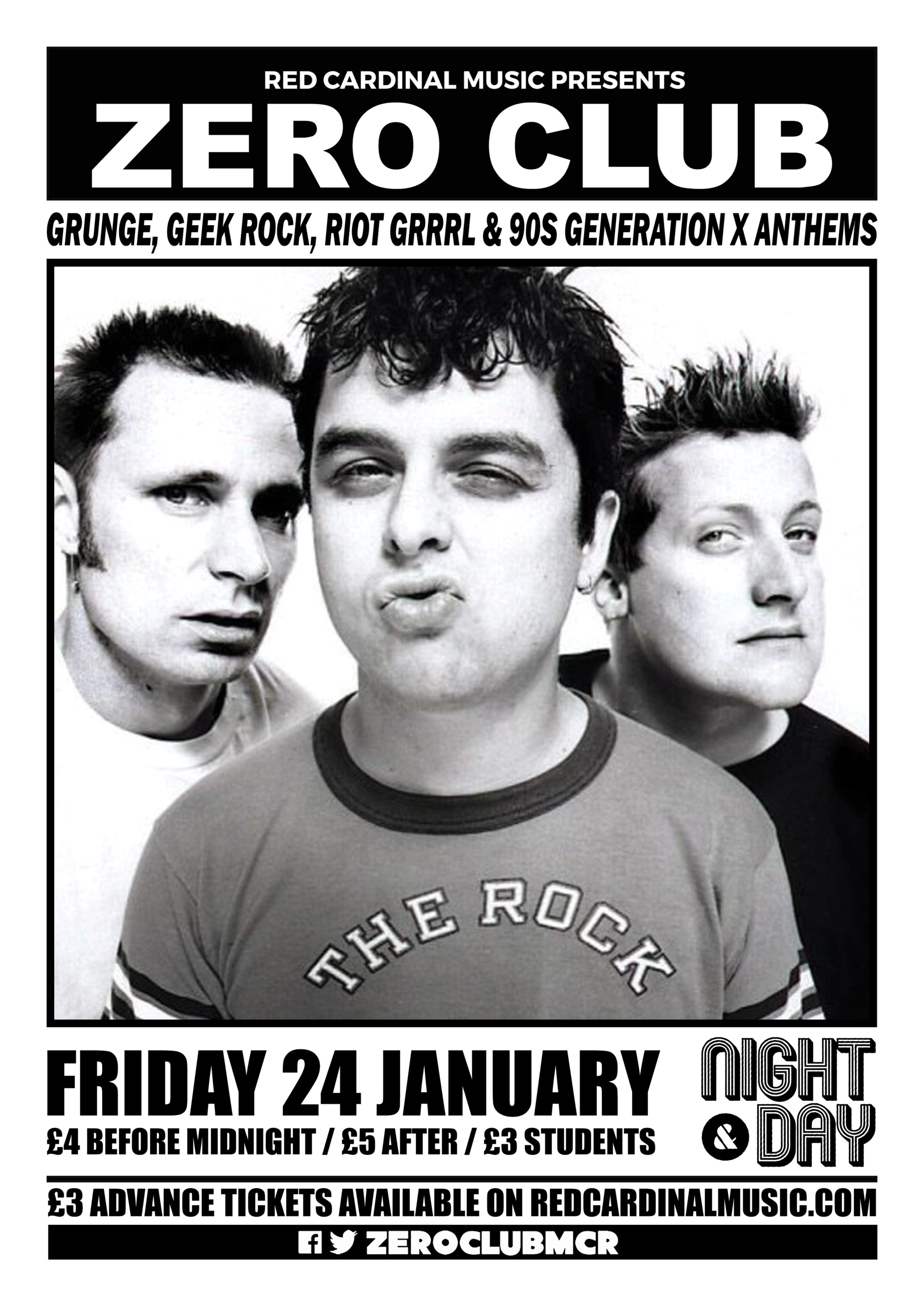 Zero Club - January 2020 - Night & Day - Poster - Red Cardinal Music - Manchester